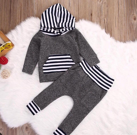 Grey Tracksuit / Lounge Suit with Stripe Detail