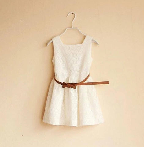 Summer Dress with Belt -  Cream