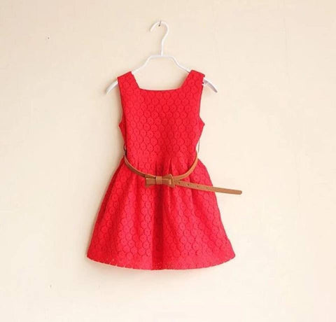 Summer Dress with Belt - Red