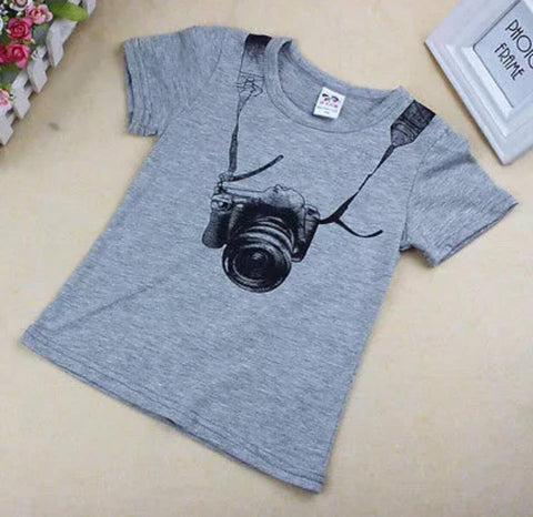 Grey T-Shirt with Camera Design