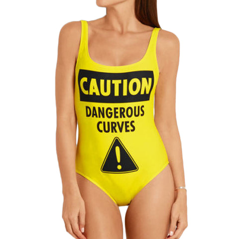 Caution Dangerous Curves One Piece Swimsuit