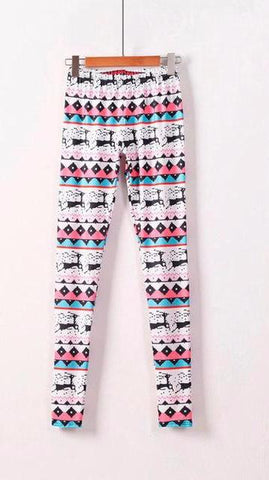 Hot Pink Christmas pattern stretchy leggings