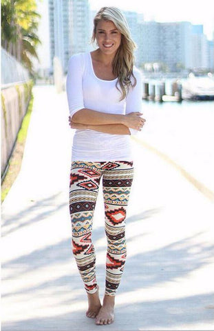Large Aztec Christmas pattern stretchy leggings