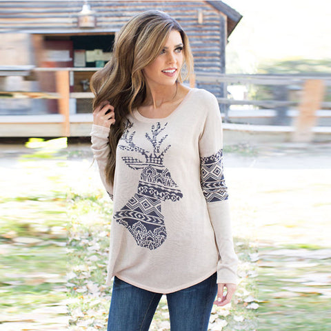 Reindeer Autumn long sleeve pullover