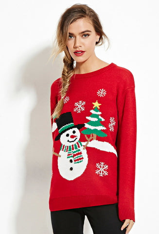 Knitted sweaters Snowman christmas Sweater Pullover