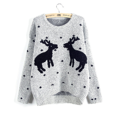 Knit Reindeer Ugly Christmas Sweater
