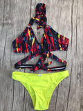 Lava Top and Yellow bottom Bikini Set