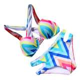 Rainbow Geometry Angled pattern Bikini