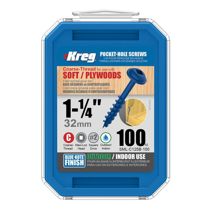 "KREG® Blue-Kote™ Pocket-Hole Screws - 32mm/1.25"", #8 Coarse-Thread, Maxi-Loc™,-kreg Tool-Hawi tools-هاوي عدد"