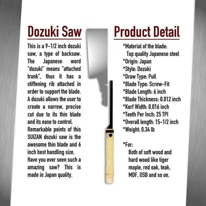 SUIZAN Japanese Hand Saw 6 inch Dozuki (Dovetail) منشار دوفتيل ياباني-SUIZAN-Hawi tools-هاوي عدد
