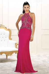 magenta ball gown prom dress