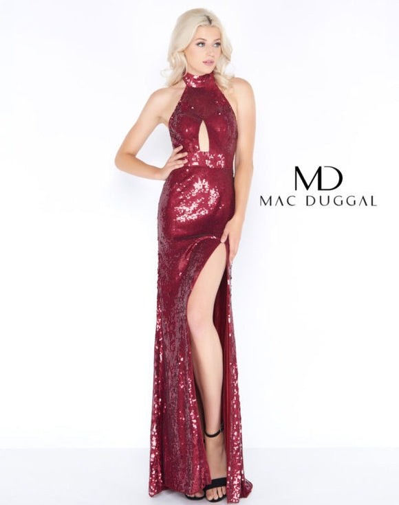 burgundy sequin prom dress