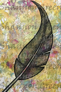 Feather-Digital Download from Hand Painted/Drawn Papers/Journal Pages