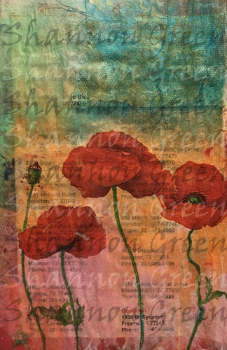 Poppies 1-Digital Download from Hand Painted/Drawn Papers/Journal Pages