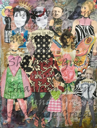 Paper Doll Background 2-Digital Download from Hand Painted/Drawn Papers/Journal Pages