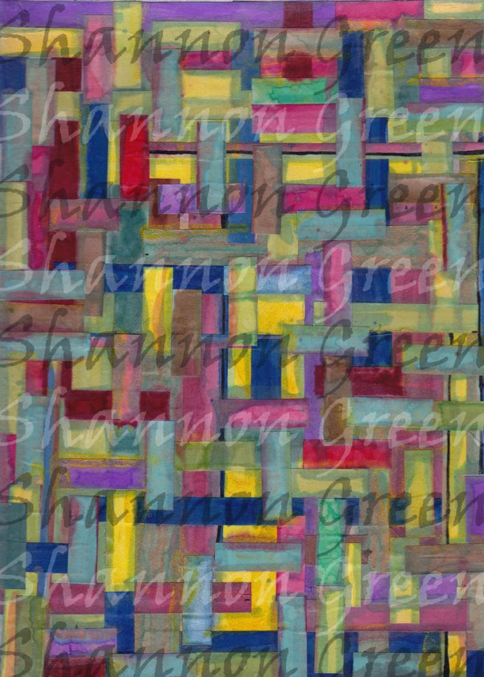 Watercolor Weave-Digital Download from Hand Painted/Drawn Papers/Journal Pages
