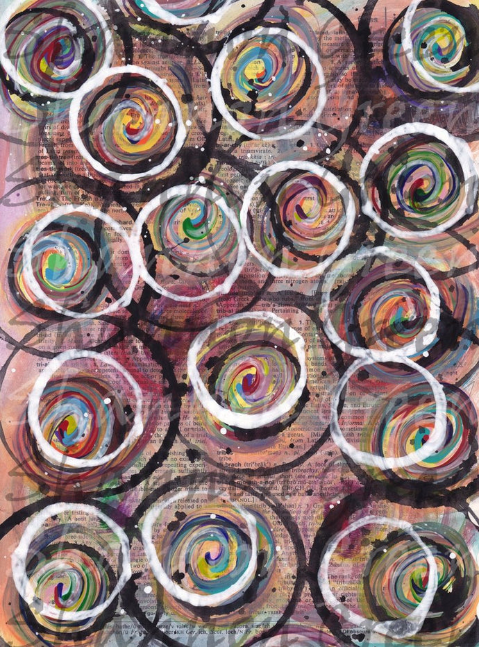 Circles-Digital Download from Hand Painted/Drawn Papers/Journal Pages