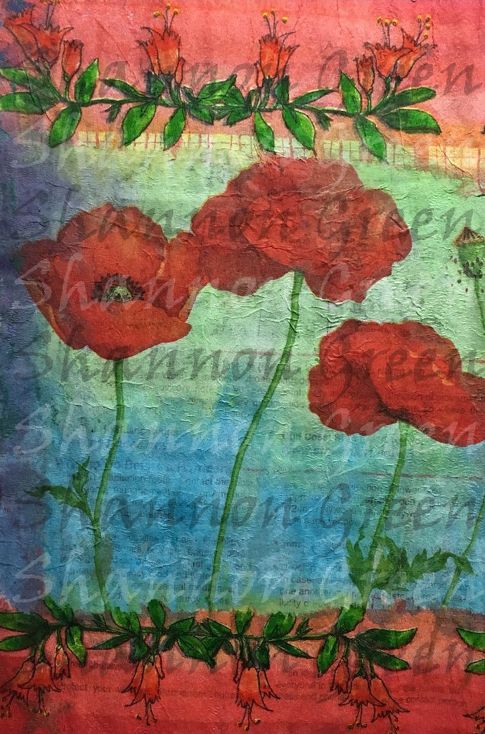 Poppies 2-Digital Download from Hand Painted/Drawn Papers/Journal Pages