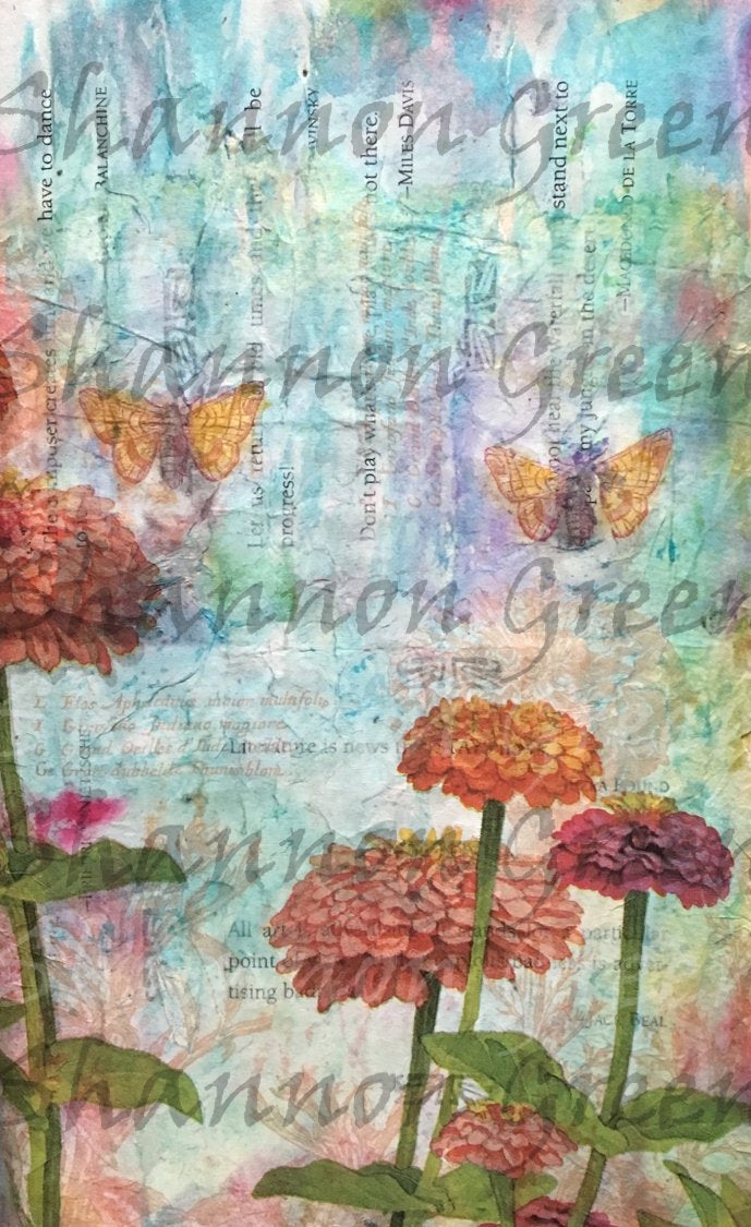 Zinnia 1-Digital Download from Hand Painted/Drawn Papers/Journal Pages