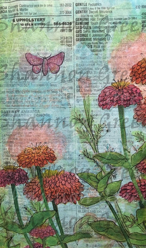 Zinnia 2-Digital Download from Hand Painted/Drawn Papers/Journal Pages