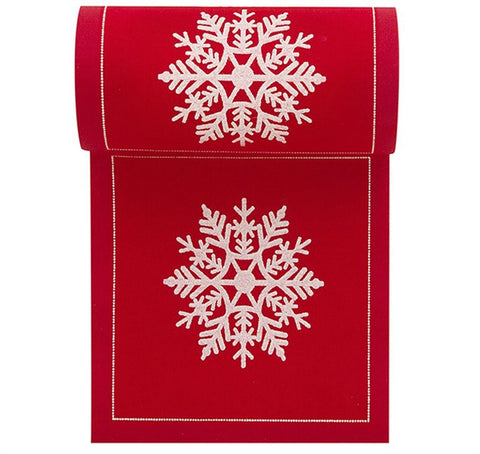 Red With White Snowflake Cotton Printed Cocktail Napkin