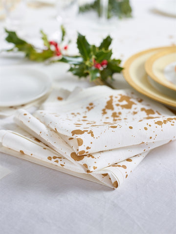 Golden Splash Linen Printed Luncheon Napkin