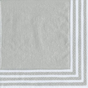 Stripe Border Silver Paper Cocktail Napkins - 20 per package
