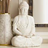 Crackle Sitting Buddha Statue Statue - Ceramic