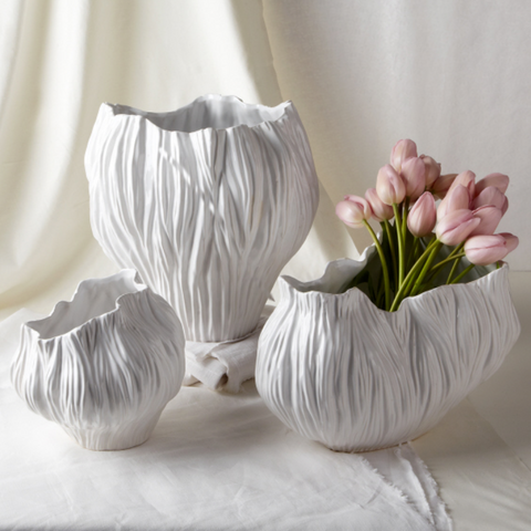 Piriform Set of 3 White Vases - 3 Shapes