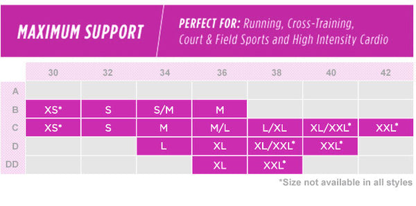 Champion Maximum Support Bra Sizing Chart