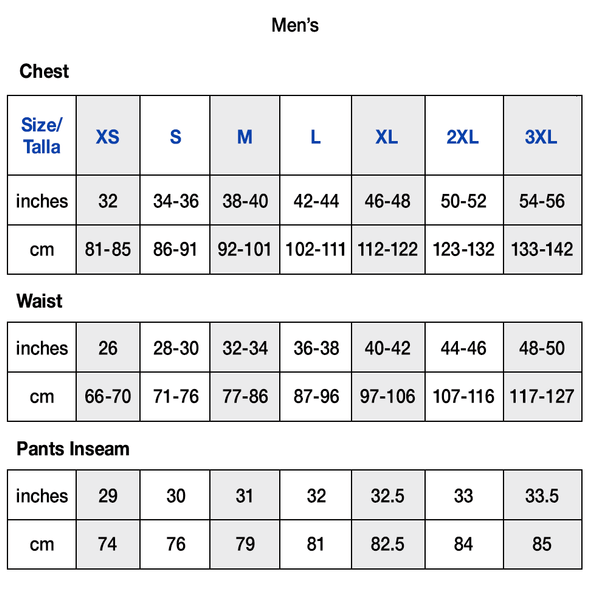 Champion Men's Apparel Size Chart