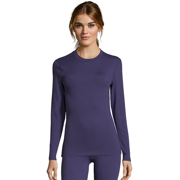 Hanes Women's Solid 4-Way Stretch Thermal Crewneck,Style 125607