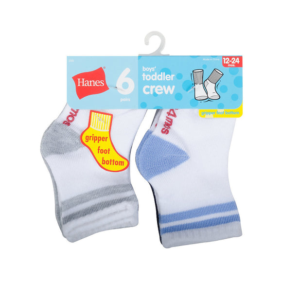 Hanes Infant/Toddler Boys' Crew Socks 6-Pack,Style 26T6