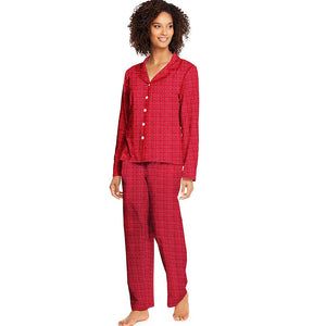 Hanes WoMen's Knit Notched Collar Top and Pants Sleep Set,Style HAC80116
