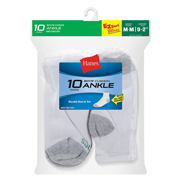 Hanes Boys' Ankle EZ Sort® Socks 10-Pack,Style 422/10