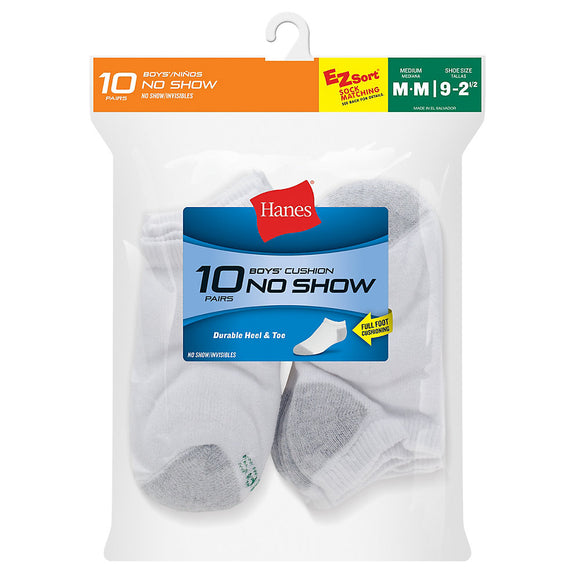 Hanes Boys' No-Show EZ Sort® Socks 10-Pack,Style 424/10