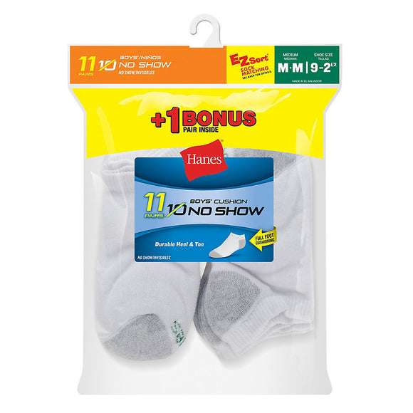 Hanes EZ-Sort® Boys' No-Show Socks 11-Pack (Includes 1 Free Bonus Pair),Style 424/11
