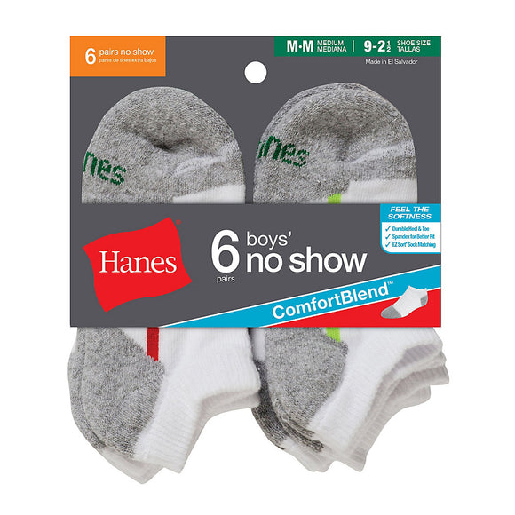 Hanes Boys' No-Show ComfortBlend® Assorted White Socks 6-Pack,Style 434/6