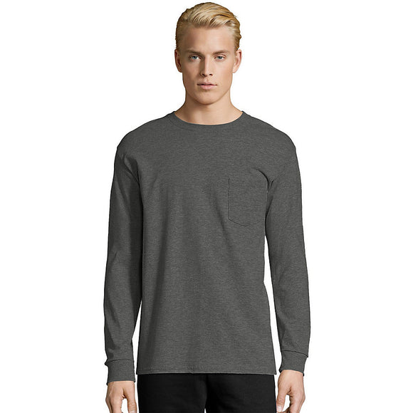 Hanes Men's TAGLESS® Long-Sleeve T-Shirt with Pocket,Style 5596