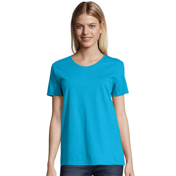Hanes Relaxed Fit Women's ComfortSoft® V-neck T-Shirt,Style 5780