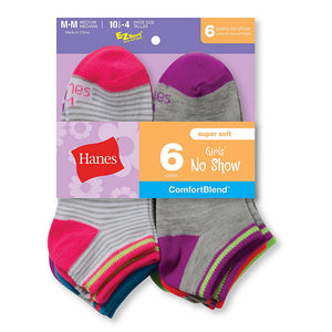 Hanes Girls' Fashion ComfortBlend® No-Show Socks 6-Pack,Style 745/6