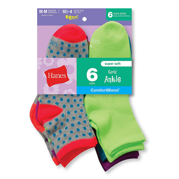 Hanes Girls' Fashion ComfortBlend® Ankle Socks 6-Pack,Style 747/6