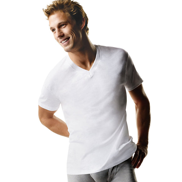 Hanes Big Men's ComfortSoft® TAGLESS® V-Neck Undershirt 3-Pack (2X-3X),Style 777X