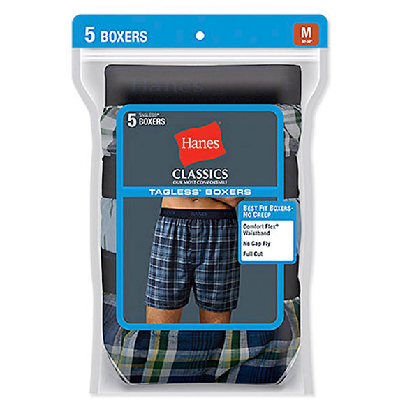 Hanes Classic Mens Yarn Dyed Exposed Waistband Boxer P5,Style 798BP5