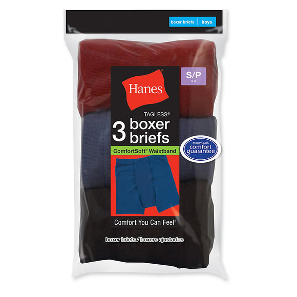 Hanes Boys' ComfortSoft® Dyed Boxer Briefs 3-Pack - B755A3