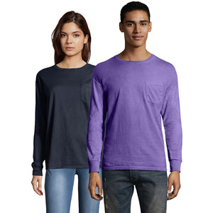 Hanes Men's ComfortWash™ Garment Dyed Long Sleeve Pocket Tee,Style GDH250 GRTDYE