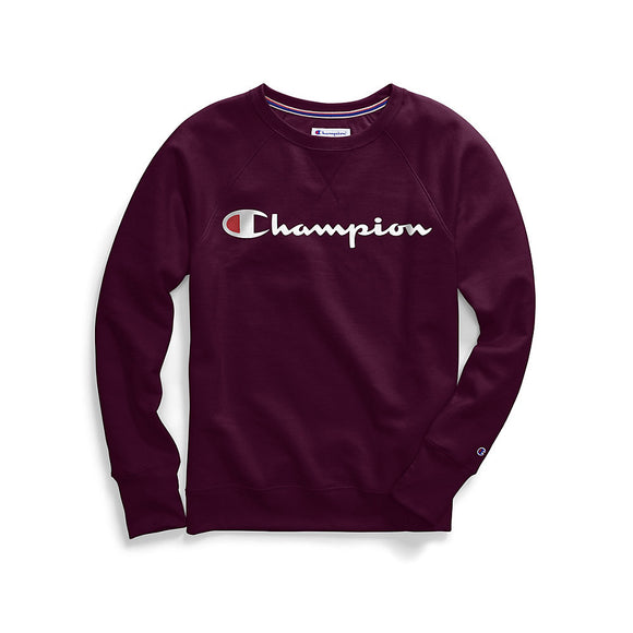Champion Women's Plus Powerblend® Fleece Boyfriend Crew, Script Logo,Style GF914 Y07466