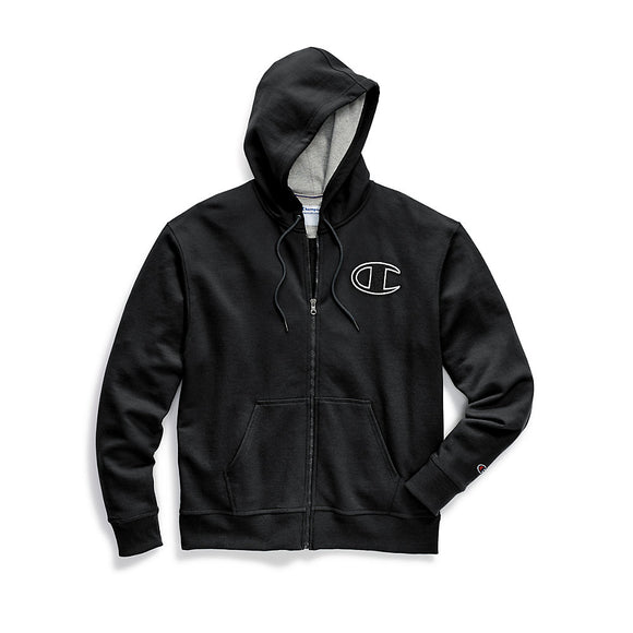 Champion Men's Powerblend® Fleece Zip Hoodie, Chainstitch Outline C Logo, GF91H Y07972