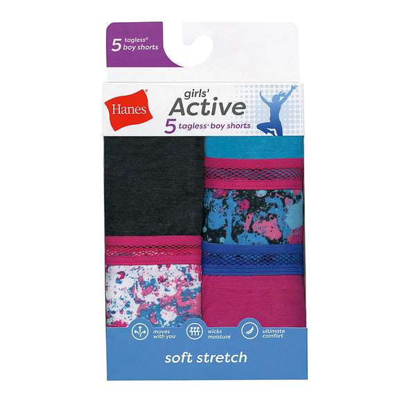 Hanes Girls' Active Stretch Gymshorts 5-Pack,Style GHAGS5
