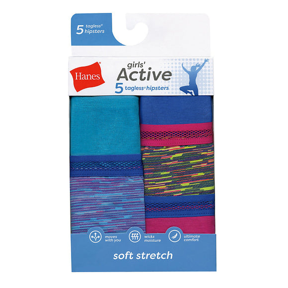 Hanes Girls Active Stretch Hipster 5-Pack,Style GHAHP5